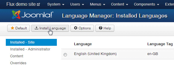 installed languages on site