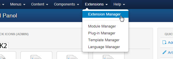 select extension manager tab