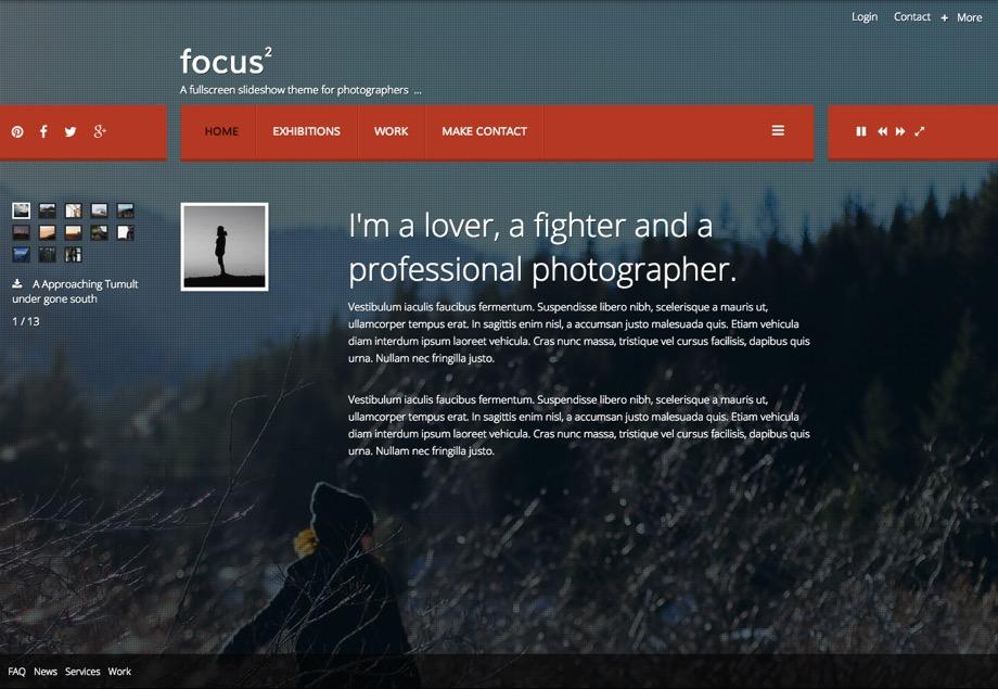 A fullscreen photography Joomla template + an extra month