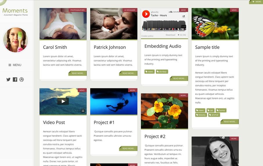 Responsive Portfolio Blog Joomla Template | Moments | Joomlabamboo