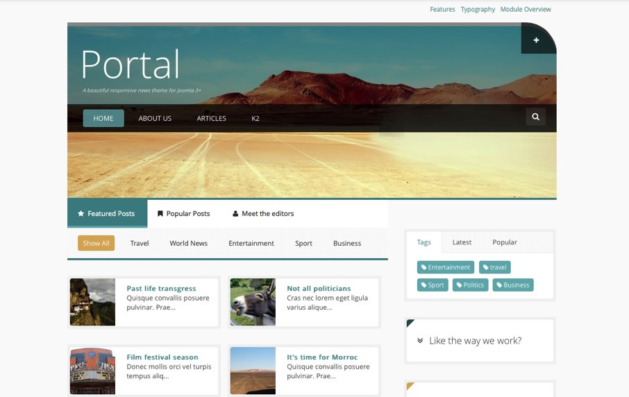 Portal joomlabamboo for Jooma templates
