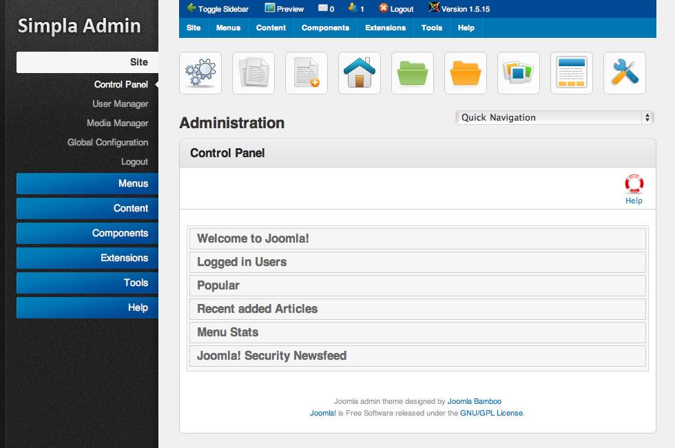 Aporte template administrador taringa for Joomla administrator templates